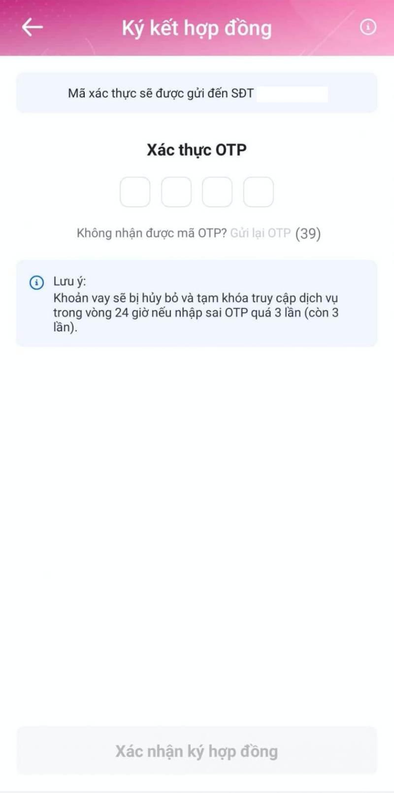 Nhập mã OTP để hoàn tất việc đăng ký khoản vay