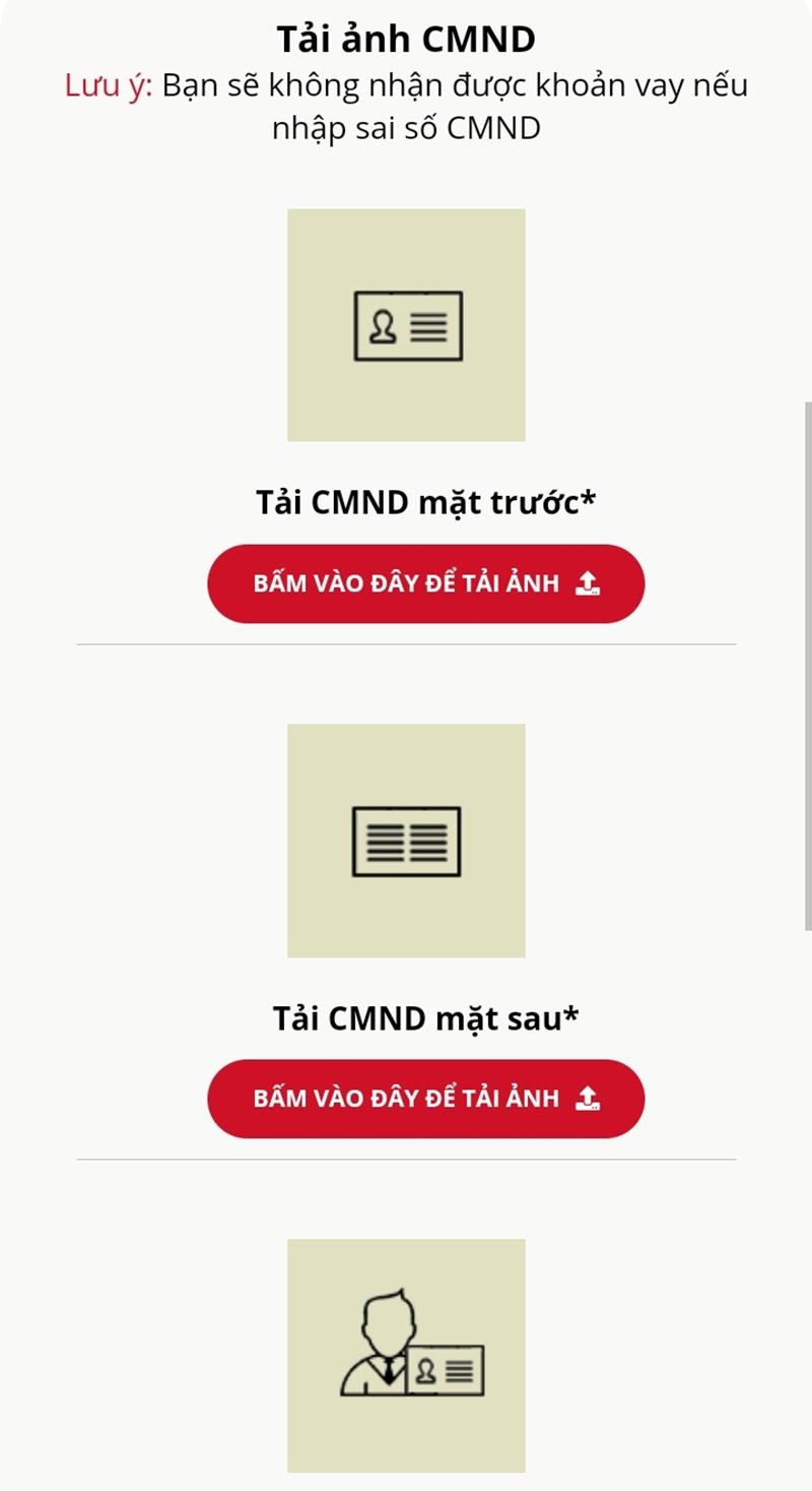 Cập nhật hình ảnh CMND/CCCD trên hệ thống VayVND
